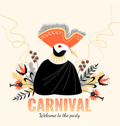 character in traditional italian costumes and mask vector image