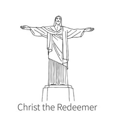 christ the redeemer drawing sketch vector image