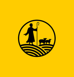 Christian symbols shepherd and his lambs vector