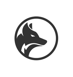 Circle wolf logo design concept vector