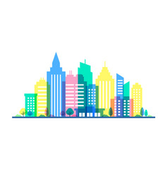 City with punchy pastels colors flat vector
