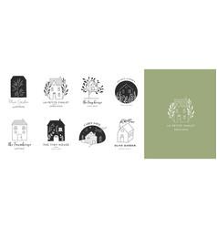 Collection hand drawn home house logos vector