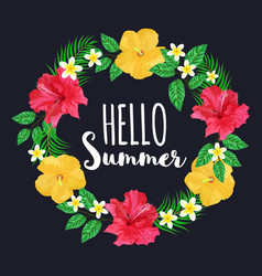 Colorful flowers wreath text hello summer floral vector