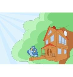 Comfortable bird house 2 vector image