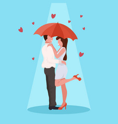 couple embracing under umbrella happy valentines vector image