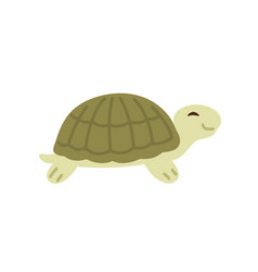 cute and funny green turtle with shell side view vector image