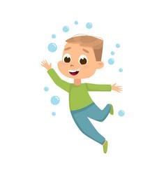 Cute boy having fun with soap bubbles kids vector