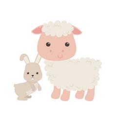 Cute little sheep and rabbit animal cartoon vector
