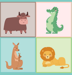 cute zoo cartoon animals isolated funny wildlife vector image vector image