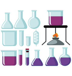 Different types of glass beakers for science vector