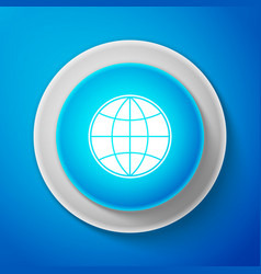 earth globe icon isolated on blue background vector image