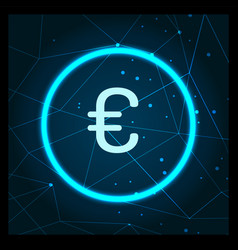 euro currency logo digital financing icon vector image