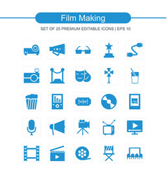 film making icons set blue vector image