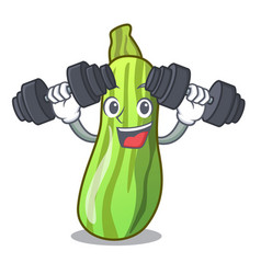 Fitness character fresh zucchini vegetable in vector