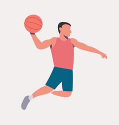 Flat design basketball player dunk vector