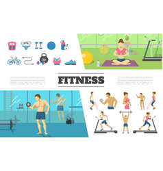 flat fitness elements collection vector image