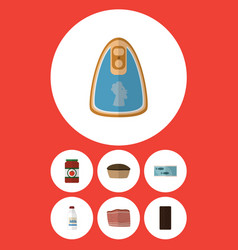 Flat icon food set of canned chicken bottle vector