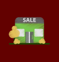 Flat shading style icon shop sale vector