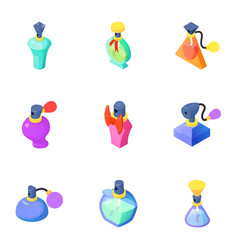 Fragrance icons set isometric style vector
