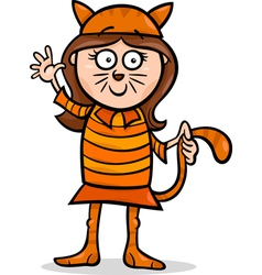 girl in cat costume cartoon vector image vector image