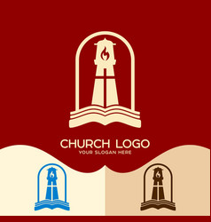 Gods lighthouse and bible vector