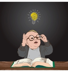 Great idea kid with book and bulb above his head vector