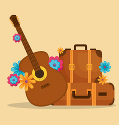 Guitar with flowers hippie culture vector