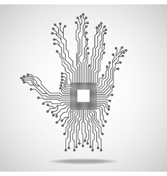 Hand cpu circuit board vector