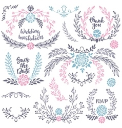 Hand drawn wedding collection with lettering vector image