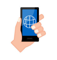 Hand holding a smartphone with a browser app vector