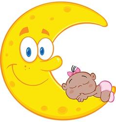 Happy cartoon moon vector