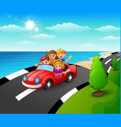Happy family riding a car in the seaside road vector