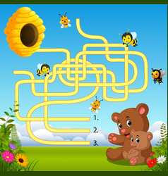 help bear find path to beehive vector image