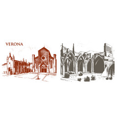 historical old building facade in venice gothic vector image