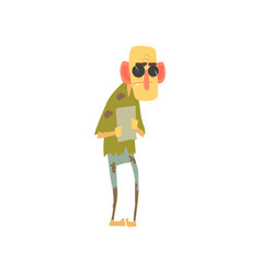 Homeless blind man character standing on the vector