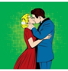kissing couple in the pop art comics style vector image