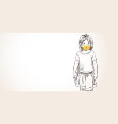 Little girl in yellow face mask for coronavirus vector