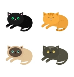 Lying cat icon set Siamese red black orange vector