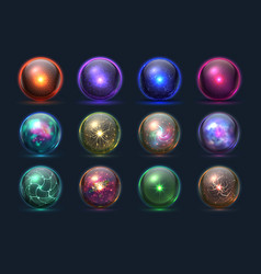 magic balls energy mysterious orbs magical vector image