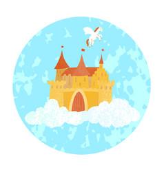 Magical fairy princess castle floating vector