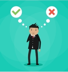 Man and speech bubbles with checkmarks vector image