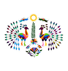 Mexican otomi style bright pattern with peacocks vector