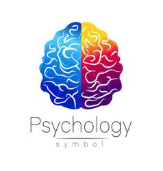 Modern brain sign of psychology human creative vector