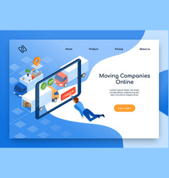 moving company online services web banner vector image
