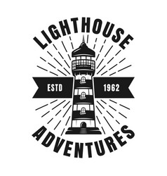 nautical vintage emblem with rays and lighthouse vector image