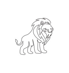 One single line drawing wild lion for company vector