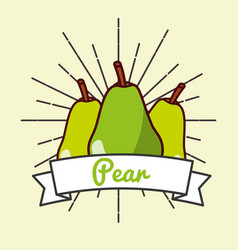pear fruit organic vitamins emblem vector image