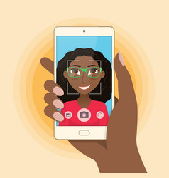 pretty girl young woman takes selfie using a vector image