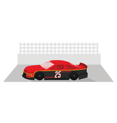 red racing car is ready to race on race track vector image