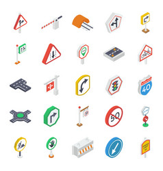 Road symbols isometric icons pack vector
